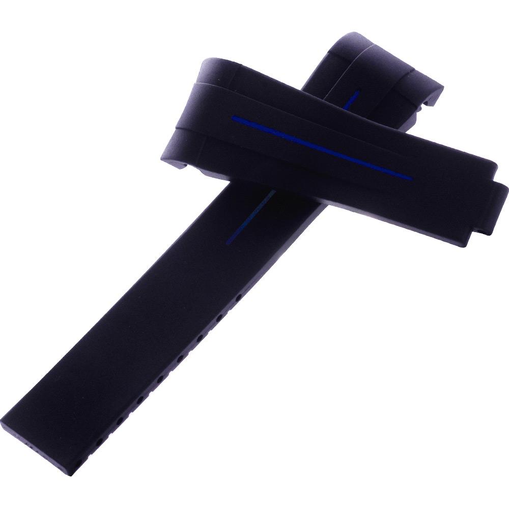 瑞士頂級Rubber B橡膠帶套組-勞力士116610黑水鬼專用-20*18黑中藍線