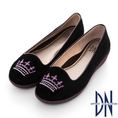 DN 舒適滿分 MIT皇冠貼鑽真皮楔型樂福鞋 黑