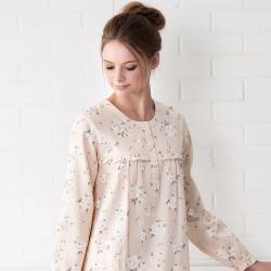 羅絲美睡衣 - 甜蜜玫瑰長袖洋裝睡衣(雅黃色)