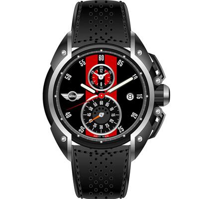 MINI Swiss Watches 跑旅時尚計時腕錶-黑x紅/45mm