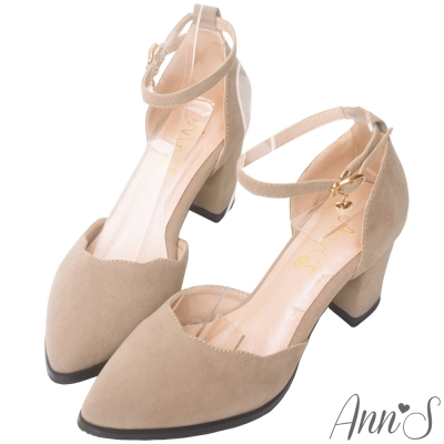 Ann'S戀愛夢遊-金色小愛心吊飾甜美波浪繫帶粗跟鞋-灰