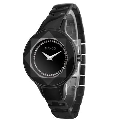 MANGO 獨特魅力多切割仕女腕錶-黑/36mm