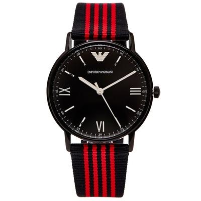 ARMANI 簡約時尚帆布帶款手錶 (AR11015)-黑x黑紅色/43mm