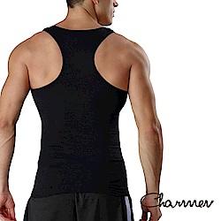 男性塑身衣 工字型交叉挺背束胸背心  黑色 Charmen
