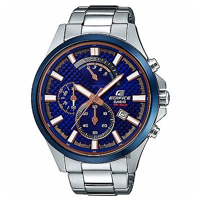 CASIO卡西歐 EDIFICE 賽車設計手錶-藍菱格紋
