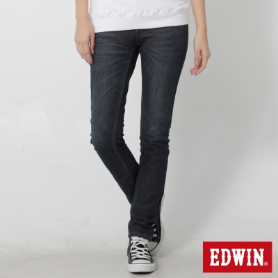 EDWIN 迦績褲JERSEYS貼合格紋保溫AB褲-女-原藍磨