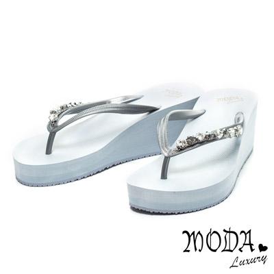 MODA-Luxury-雙色菱形排鑽時尚厚底夾腳拖
