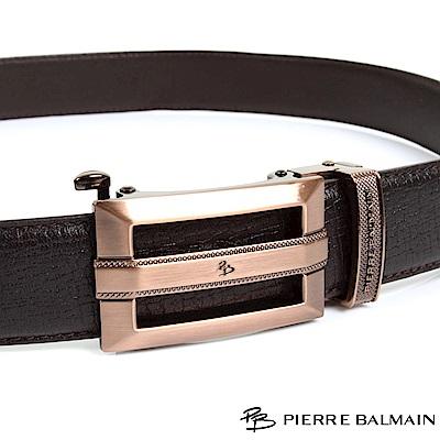 PB 皮爾帕門-經典方切框中紋橫Logo款-頭層牛皮自動扣皮帶-855-咖