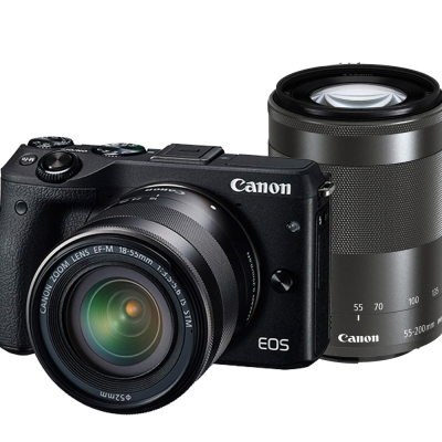 CANON EOS M3+18-55mm+55-200mm 雙鏡組-黑色*(平輸中文)
