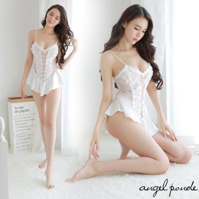 情趣睡衣 點點雕花拼接荷葉吊帶性感連身睡裙(白色)-天使波堤