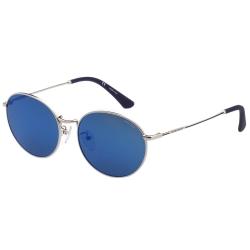 POLICE - 復古圓框 水銀藍 太陽眼鏡 (銀色)