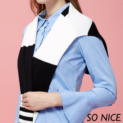 SO NICE玩美時尚條紋披肩