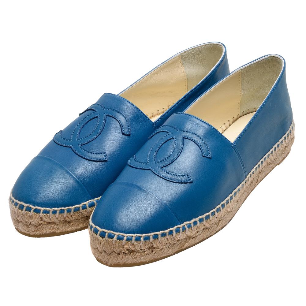 CHANEL 經典Espadrilles小香LOGO小羊皮厚底鉛筆鞋(藍_36號)