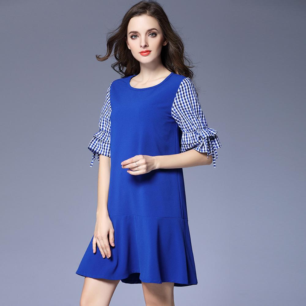 寶藍色格子紋荷葉袖拼接洋裝L~5XL-KVOLL