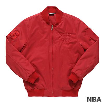 NBA-芝加哥公牛隊單色LOGO繡花合身版棒球外套-紅男