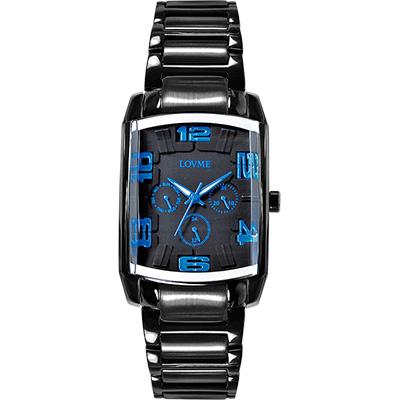 LOVME 魔幻立體空間時尚腕錶-IP黑x藍刻度/34mm