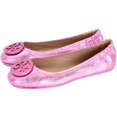 TORY BURCH Minnie Travel 盾牌金屬皮革娃娃鞋(粉色)