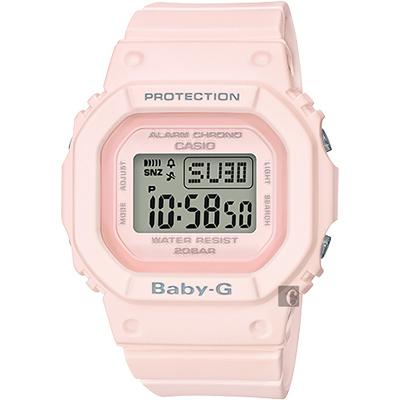 CASIO 卡西歐 Baby-G 人氣經典電子錶-櫻花粉/ 44 . 7 mm