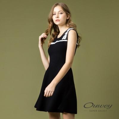 OUWEY歐薇 剪接蕾絲針織背心洋裝(黑)