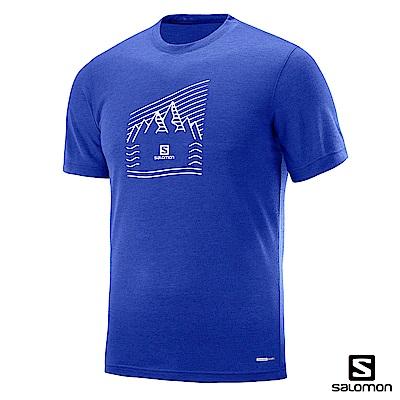Salomon 吸濕快排 短袖T恤 男 EXPLORE GRAPHIC 海洋藍