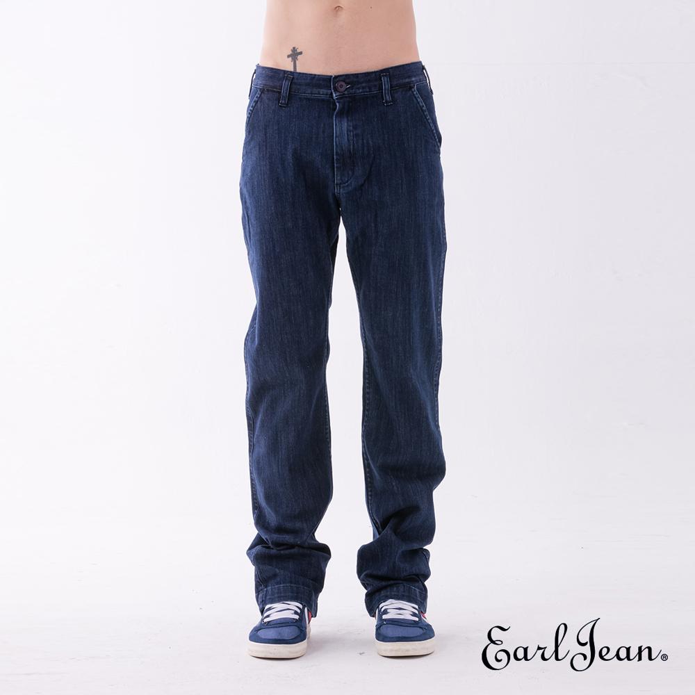 Earl Jean 斜口袋中腰寬鬆舒適牛仔長褲-深藍-男