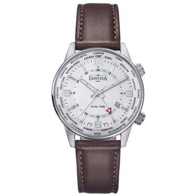 DAVOSA Vireo Dual Time–威利爾經典雙時區系列皮帶腕錶-白/42mm
