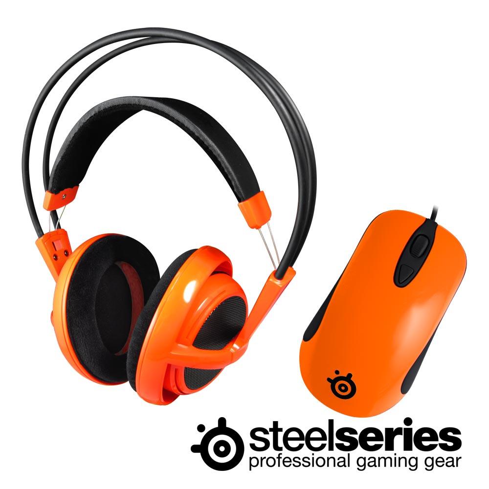 SteelSeries Siberia V1 頭戴式耳麥+Kinzu V2滑鼠(夕陽橘)
