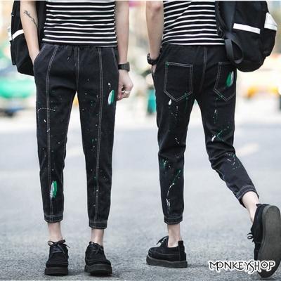 Monkey Shop  韓系街頭水彩潑點印花九分牛仔褲