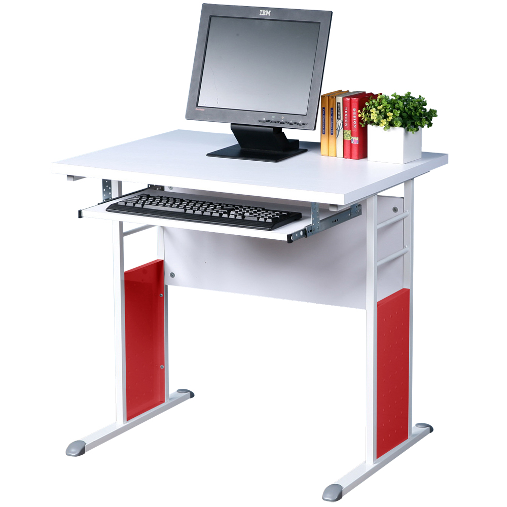 Homelike 巧思80x60辦公桌(附鍵盤)-白桌面/亮白桌腳