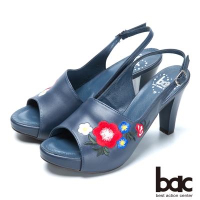 bac流行時尚 花朵刺繡造型高跟涼鞋-藍