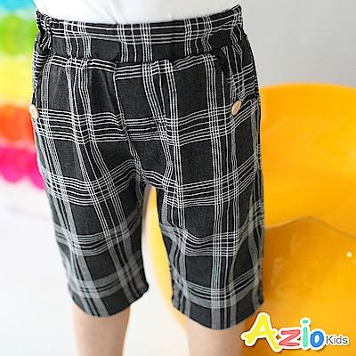 Azio Kids 短褲 格線鈕扣口袋短褲(黑)