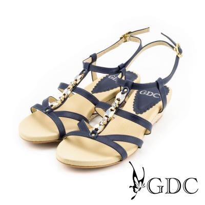 GDC-性感水鑽側扣帶楔型厚底羅馬風真皮涼拖鞋-藍色