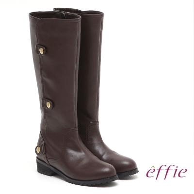 effie 網路獨家 側邊五金銅釦低跟長靴 咖啡