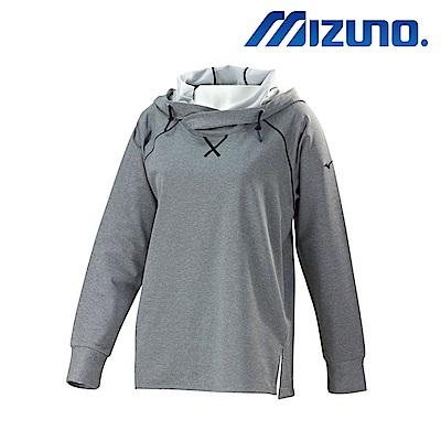 MIZUNO 美津濃 長袖女運動帽T 灰 32TA773208