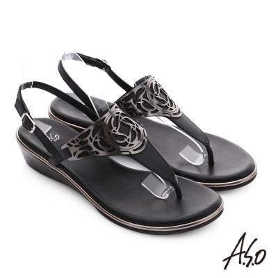 A.S.O 嬉皮假期 T字飾釦併接涼鞋 黑色
