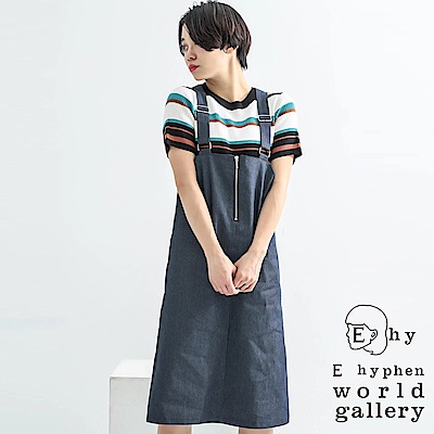 E hyphen 牛仔拉鍊設計連身吊帶裙