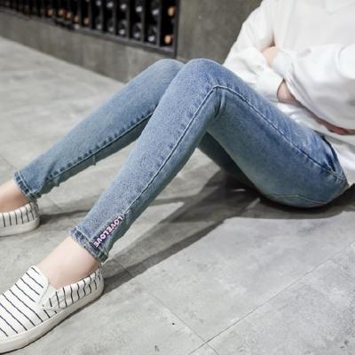 Keep-Chic孕婦裝-藍色韓版修身孕婦牛仔褲