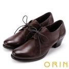 ORIN 英倫街頭時尚 復古牛津皮料綁帶粗跟踝靴-咖啡