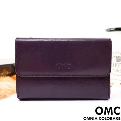OMC - 原皮魅力真皮系列三折多卡式中夾-神秘紫