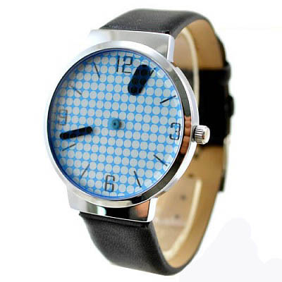時光愛客-點點網格-風格感皮革錶-藍-19mm