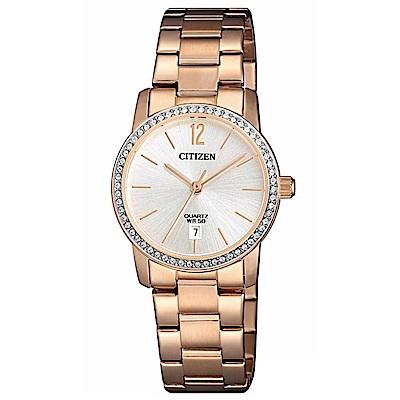 CITIZEN星辰 時尚麗緻玫瑰金石英女錶 (EU6039-86A)-白色/27mm