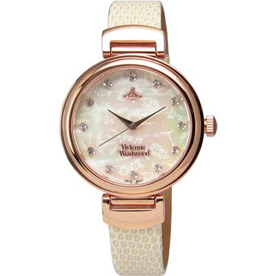 Vivienne Westwood/Hampton浪漫圓舞曲真皮腕錶-白X玫瑰金/ 32 mm