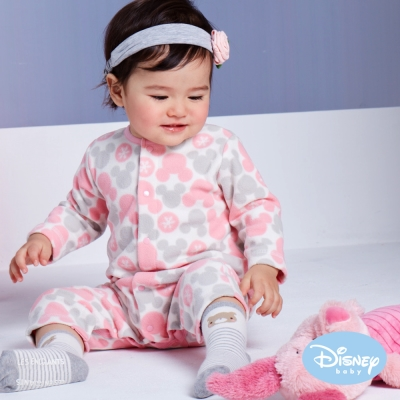 Disney Baby 米奇雪花圓點連身裝 粉桔
