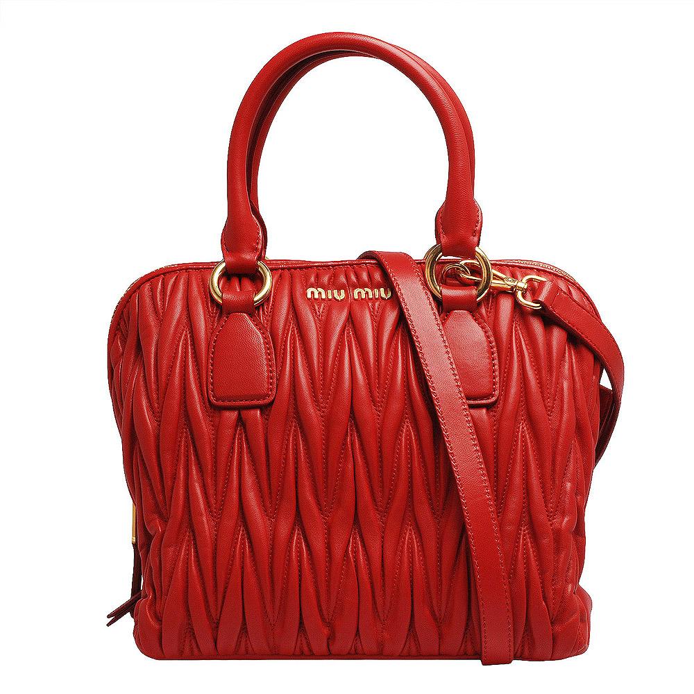 MIU MIU Matelasse' Lux羊皮皺摺三層手提/斜背波士頓包(中-亮紅)