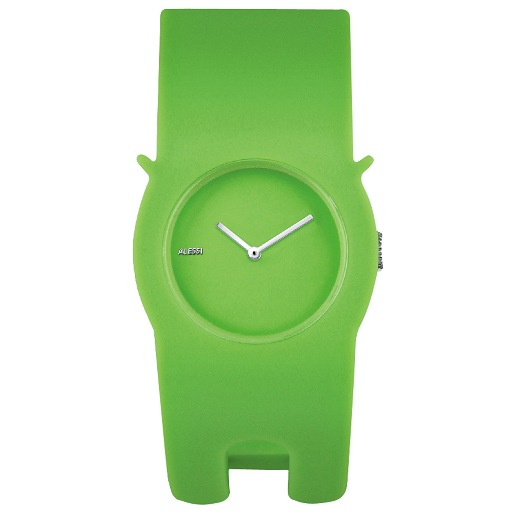ALESSI 慵懶的貓造型手環錶-綠/35mm