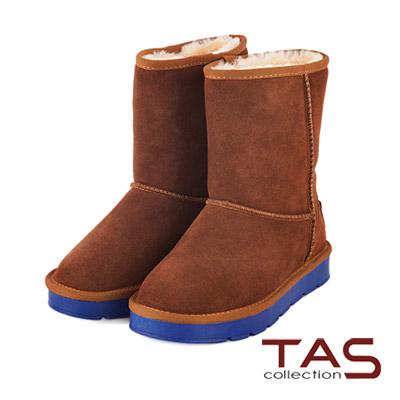 TAS-太妃Q系列-嚴選牛皮後跟金屬LOGO撞色雪靴-復古棕