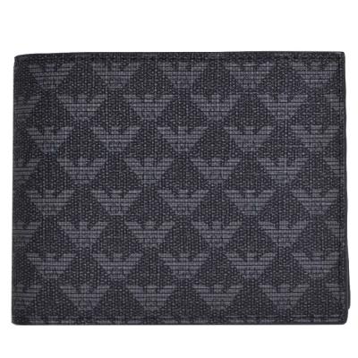 EMPORIO ARMANI 經典防刮壓紋品牌LOGO PVC四卡零錢短夾(黑灰色)