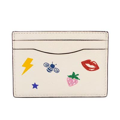 COACH米白全皮亮粉貼飾雙面名片/票卡夾