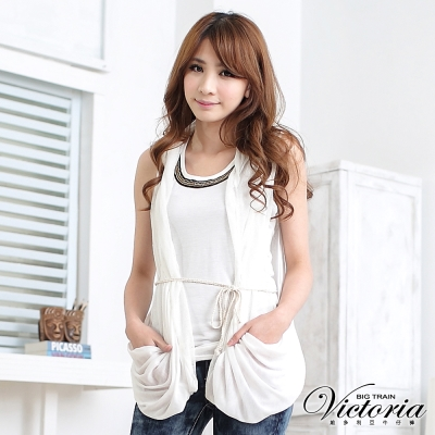 Victoria 針織抽皺外罩背心-女-白色