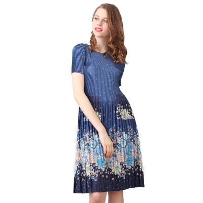 清新藍色圓領短袖壓摺洋裝-玩美衣櫃